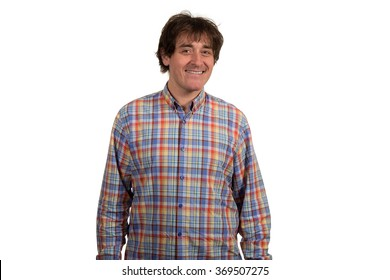 Closeup portrait of smiling young man in checkered shirt. Isolated on white background.
