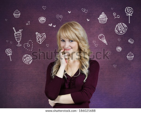 Closeup portrait smiling young woman, hand on cheek looking at you imagining, craving snacks, isolated purple background with dessert vectors. Positive emotions, facial expressions, feelings, attitude