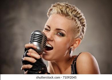 Close-up portrait of a steam punk singer