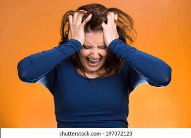 Closeup portrait  stressed business woman, pulling her hair out, yelling, screaming with temper tantrum isolated orange background. Negative human emotions, facial expressions, reaction attitude