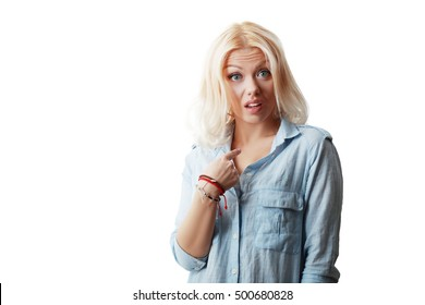 Closeup portrait of surprised, flirting young business woman student getting unexpected attention from man she likes asking you talking to, you mean me? Isolated on white background. Facial expression