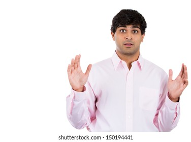 Closeup portrait of surprised handsome man, with copy space to left, isolated on white background