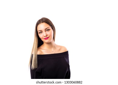 Closeup portrait of a teenage girl in black over white background