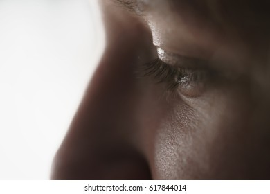 Closeup portrait of teenage girl watching something, shallow focus