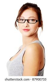 Closeup portrait of teenage student over white.