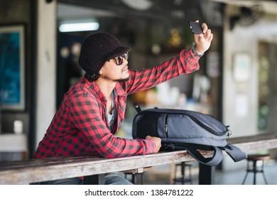 Closeup portrait Traveller selfie and smiling
