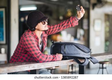 Closeup, Portrait Traveller selfie and smiling