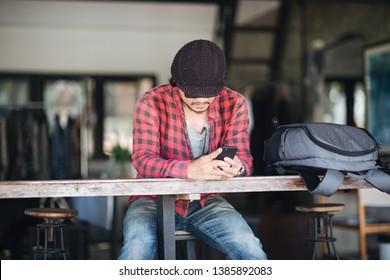 Closeup, Portrait Traveller using smartphone