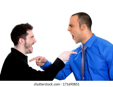 Closeup portrait of two angry men pointing fingers at each other blaming for problems, isolated on white background. Interpersonal conflict. Negative emotions facial expression feeling, body language