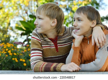 Close-up portrait of two brothers in park