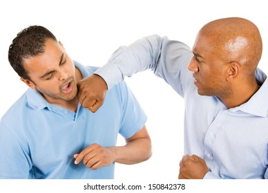 Closeup portrait of two guys fighting, one guy punches, other guy falls back, isolated on white background