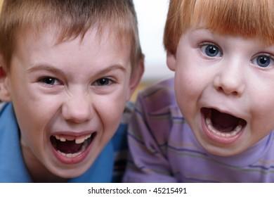 closeup portrait of two little boys