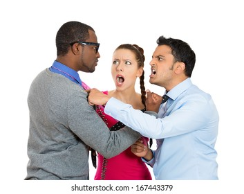 Closeup portrait of two men fighting over a woman caught in middle, isolated on white background.  Relationship and society conflict, problems, issues. Negative emotion facial expression feelings