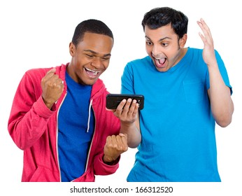 Closeup portrait of two men looking shocked with opened mouth on a cell phone watching a football game or reading an sms, e-mail viewing latest news, isolated on a white background. Positive emotion