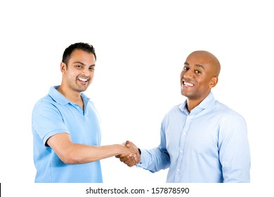 Closeup portrait of two men shaking hands, after a conflict resolution, and finding a solution to a problem, isolated on white background with copy space. Human emotions and facial expressions.