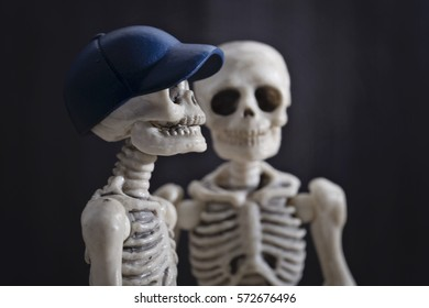The close-up portrait of two skeletons
