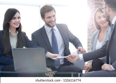 Closeup portrait of two successful business executive exchanging