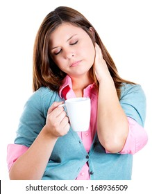 Closeup portrait of very tired, falling asleep woman, holding cup of coffee, struggling not to crash, stay awake, keeping eyes opened, isolated on white background. Human face expressions, feelings