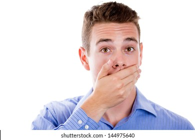 Closeup portrait of white man with hand over his mouth, stunned and speechless, isolated on white background