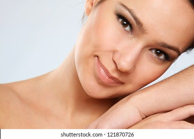 Close-up portrait of woman, isolated on white background