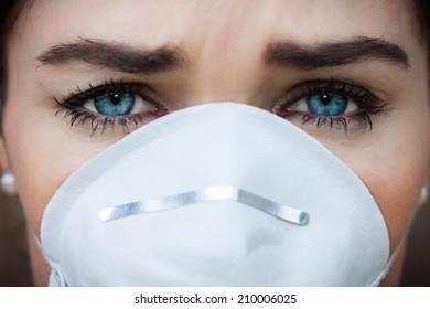 Close-up portrait woman wearing a face mask
