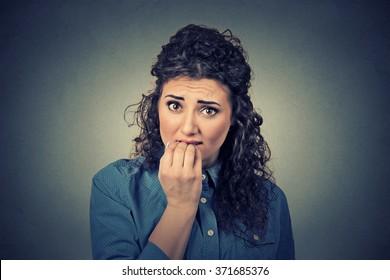 Closeup portrait of worried woman