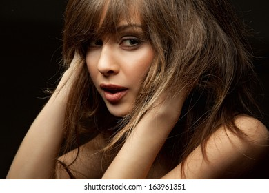Close-up portrait of young attractive lady