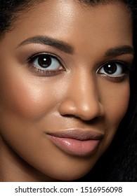 Closeup portrait of young beautiful black woman