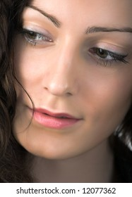 close-up portrait of young beautiful woman with green eyes