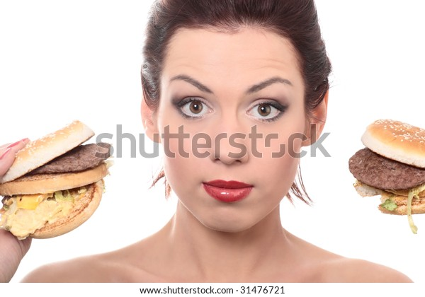 close-up portrait of young beautiful woman withtwo big mac isolated on white