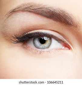 close-up portrait of young beautiful woman's eye zone make-up