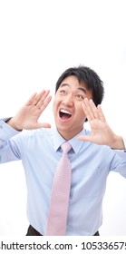 Closeup portrait of a young business man screaming out loud isolated on white background, model is a asian people