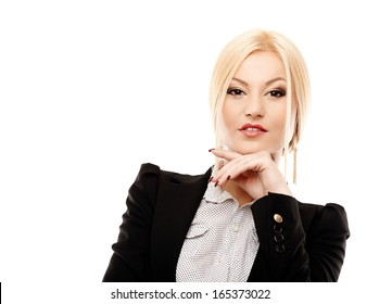 Closeup portrait of young confident businesswoman with hand on chin, isolated on white background