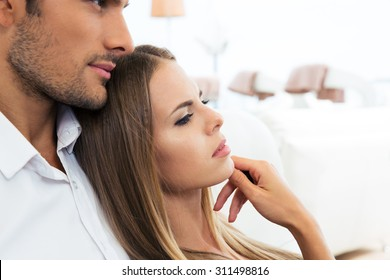 Closeup portrait of a young couple together