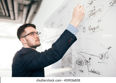 Close-up portrait of young dark-haired man in glasses writing a business plan on whiteboard. He wears blue shirt and dark jacket. View from side, focus on hand.
