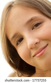 close-up portrait of young girl isolated on white