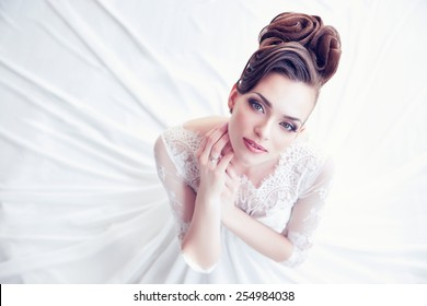 Closeup portrait of young gorgeous bride