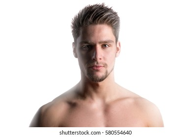 Closeup portrait of a young handsome man with health clean skin isolated on white background with around him a kind of glow.