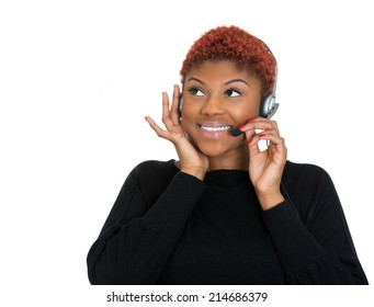 Closeup portrait young happy successful woman, customer service representative, call centre worker, operator, support staff speaking with head set, isolated white background. Positive face expressions