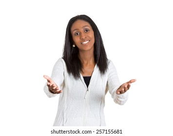 Closeup portrait young happy woman with arms out offering to come and give her a hug isolated on white background. Positive human emotion facial expression feeling sign symbols body language