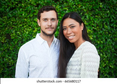Closeup Portrait of Young Multi-ethnic Couple