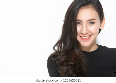 close-up portrait young pretty woman smiling in black t-shirt on white background, happy, positive mood, isolated