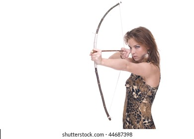 Closeup portrait of young savage woman with bow and arrow