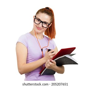 Closeup portrait young smart  woman with glasses, holding books, listening to music, prepared, ready to take her test finals, isolated white background. Positive facial expressions, feelings, emotions