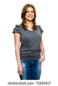 Close-up portrait of young smiling woman standing over white background
