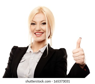 Closeup portrait of young successful businesswoman making the finger up sign, isolated on white background