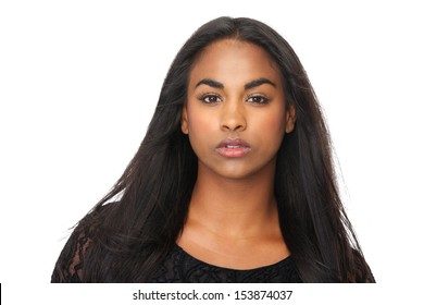 Closeup portrait of young woman with beautiful long black hair