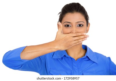 Closeup portrait of young woman covering closed mouth, open eyes. Speak no evil concept, isolated on white background. Negative human emotion facial expressions signs and symbols. Media news coverup