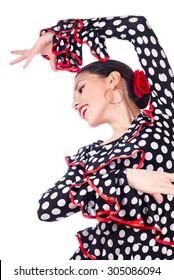 Close-up portrait of a young woman dancing flamenco, isolated on white