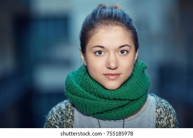 Closeup portrait of young woman on a cold day.